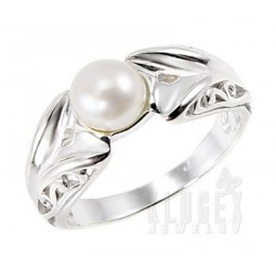 Sterling Silver Ring with Pearl Size 6