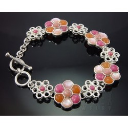 Sterling Silver Gemstone Flower Toggle Bracelet