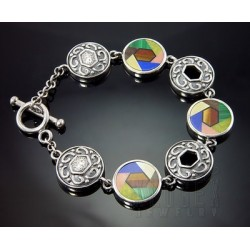 Sterling Silver Gemstone Inlay Toggle Bracelet