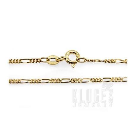 Vermeil Sterling Silver Figaro Chain 18 Inch