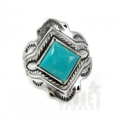 Southwestern Sterling Silver Ring Set with Turquoise