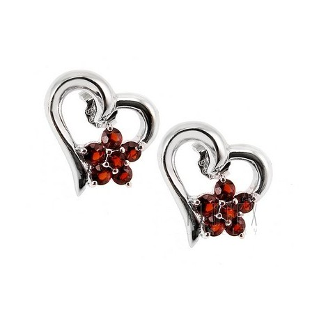 Sterling Silver Heart Earrings with Garnet