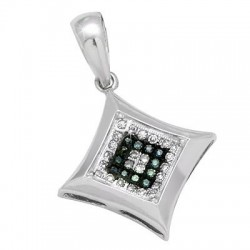14K White Gold Small Pendant with Diamond