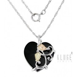 Black Hills Sterling and 12K Gold Heart Pendant with Chain