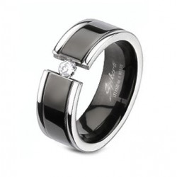 Titanium Band Ring With Black Center and CZ Size 5