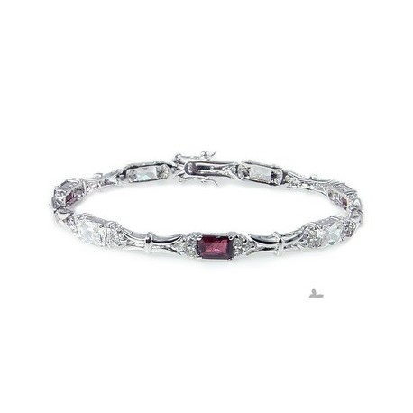 Sterling Silver Bracelet with Garnet and CZ