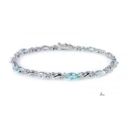 Sterling Silver Bracelet with Topaz and CZ