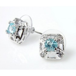 Sterling Silver Earrings with Blue Topaz and CZ