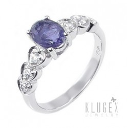 Sterling Silver Ring with Iolite Size 6