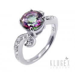 Sterling Silver Ring with Mystic Topaz Size 6