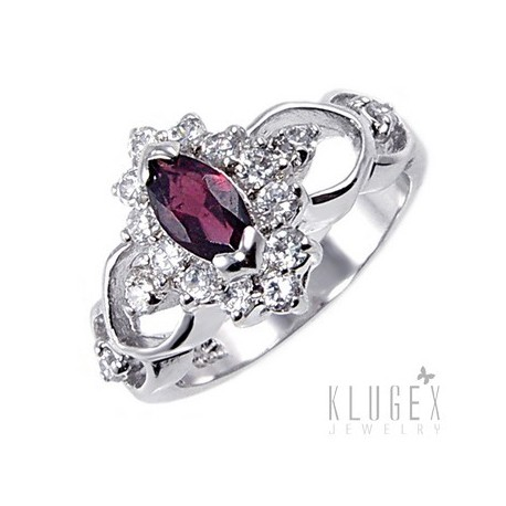 Sterling Silver Ring with Garnet Size 5