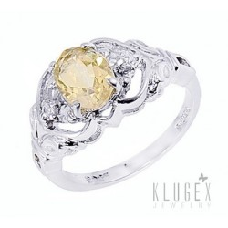 Sterling Silver Ring with Citrine Size 6.5