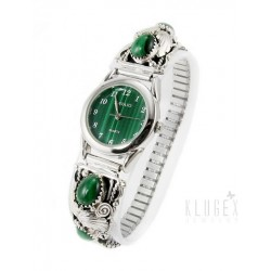 Southwestern Sterling Silver Watch with Malachite