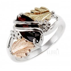 Black Hills 12K Gold on Sterling Silver Ring with Garnet