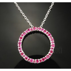 Sterling Silver Circle Pendant with Synthetic Ruby