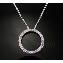 Sterling Silver Circle Pendant with Synthetic Amethyst