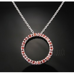 Sterling Silver Circle Pendant with Synthetic Garnet