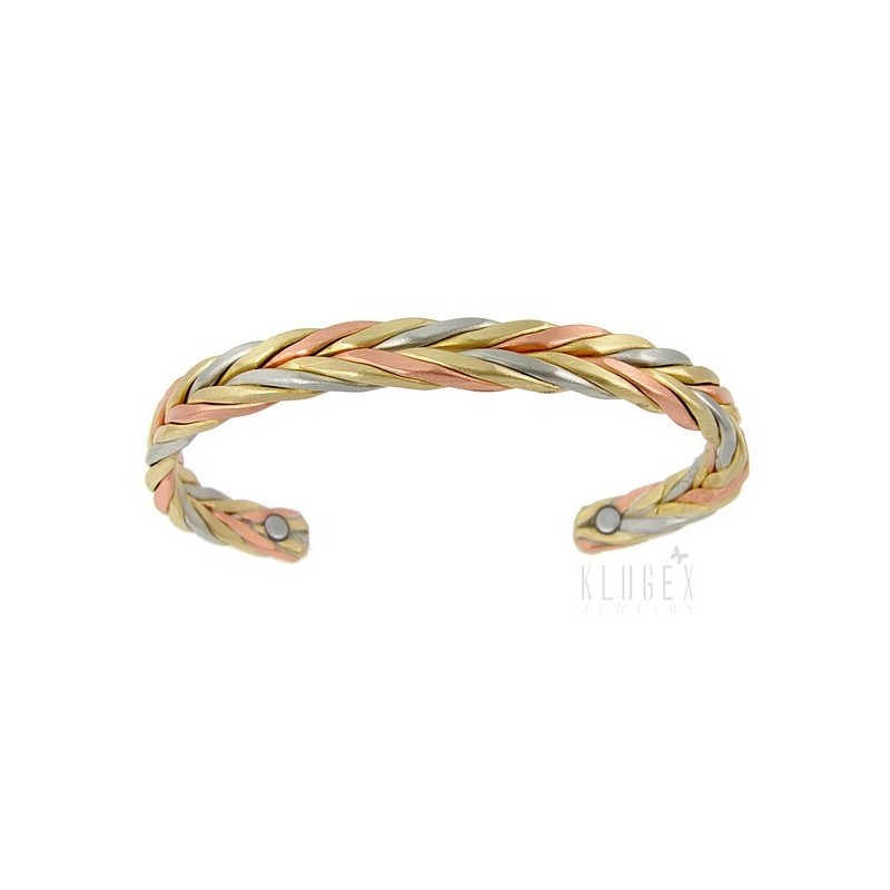 Sergio Lub Magnetic Copper Cuff Bracelet Magnetic Wheat Brushed Jewelry Farm
