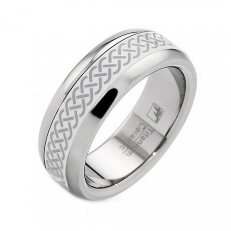 Titanium and Ceramic Band Ring