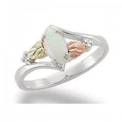 Black Hills Sterling and 12K Gold Ring with Opal