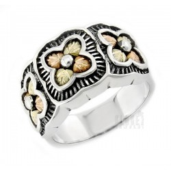 Black Hills Gold Sterling Silver Ring with 12K Gold