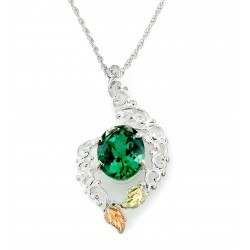 Black Hills Gold Sterling Silver and 12K Gold Emerald Pendant