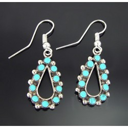 Native American Sterling Silver Earrings with Turquoise