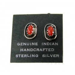 Native American Sterling Silver Earrings with Coral