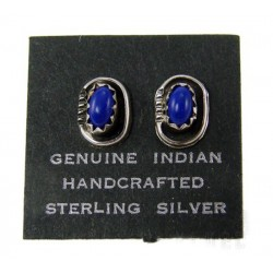 Native American Sterling Silver Lapis Earrings