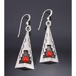 Native American Sterling Silver Earrings w Coral