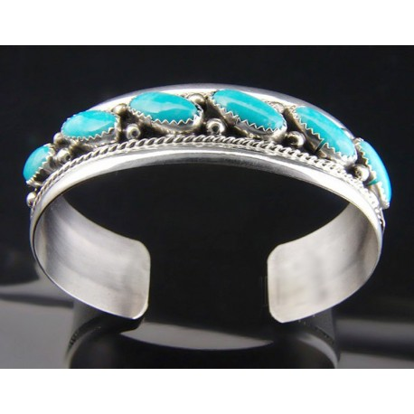 Native American .925 Sterling Cuff Bracelet with Turquoise