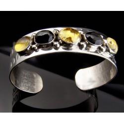 Native American Sterling Sterling Cuff Bracelet w Gemstones