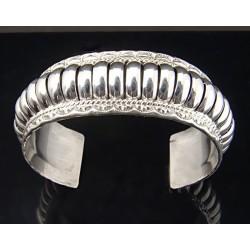 Native American Sterling Silver Cuff Bracelet Signed