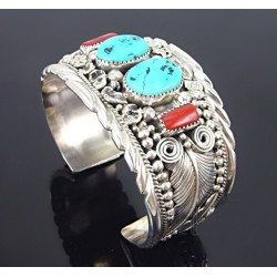 Native American Sterling Silver Cuff Bracelet with Turquoise & Coral