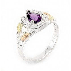 Black Hills 12K Gold on Sterling Horseshoe Ring with Amethyst