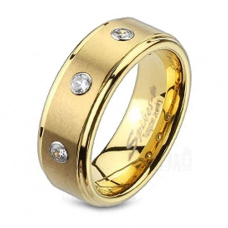 Tungsten Carbide Gold IP Band Ring with CZ