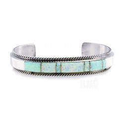 Native American Sterling Silver Cuff Bracelet with Opal