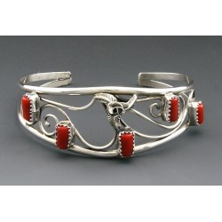 Native American Sterling Silver Cuff Bracelet with Coral