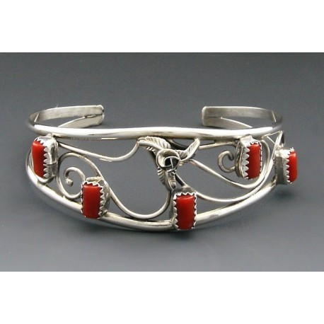 Native American Cuff Bracelet with Coral