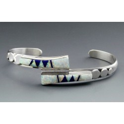 Native American Sterling Cuff Bracelet with Inlay