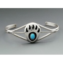 Sterling Silver Bear Paw Cuff Bracelet with Turquoise