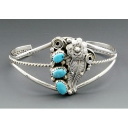 Native American Sterling Silver Cuff Bracelet with Turquoise