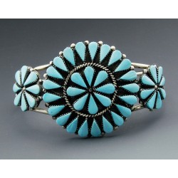 Zuni Sterling Silver Cluster Cuff Bracelet with Turquoise