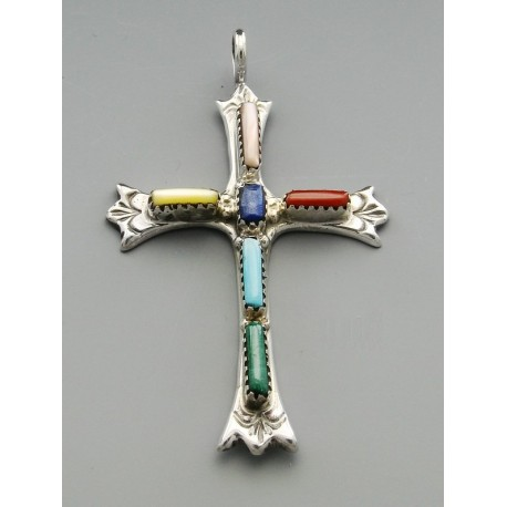 Native American Cross Pendant With Gemstones Jewelry Farm