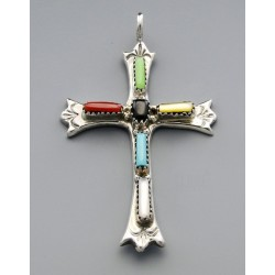 Native American Cross Pendant with Gemstones