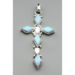 Native American Cross Pendant with Opal
