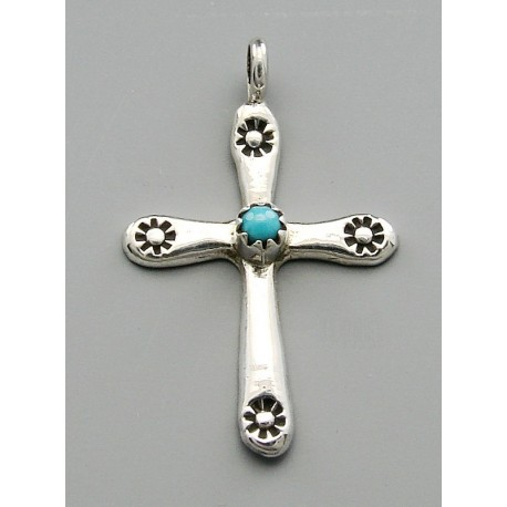 Small Southwestern Cross Pendant with Turquoise