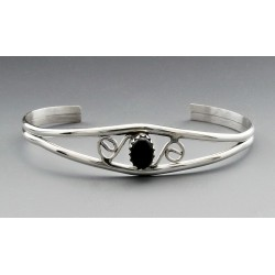 Sterling Silver Cuff Bracelet with Onyx
