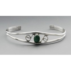 Sterling Silver Cuff Bracelet with Malachite