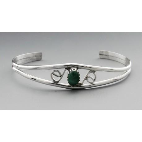 Sterling Silver Cuff Bracelet with Malachite